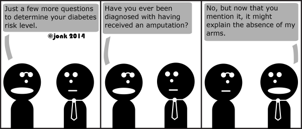 Nerd: Just a few more questions to determine your diabetes risk level.