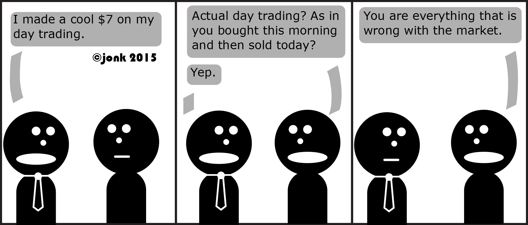 Tie: I made a cool $7 on my day trading. Guy: Actual day trading? As in you bought this morning and then sold today? Tie: Yep Guy: You are everything that is wrong with the market.   © Jonathan Kroupa 2015