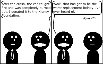 Guy: After the crash, the car caught fire and completely burned out. I donated it to the Kidney Foundation.