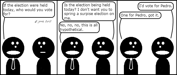 Tie: If the election were held today, who would you vote for? Guy: Is the election being held today? I don't want you spring a surpise election on me. Tie: No, no, no, this is all hypothetical. Guy: I'd vote for Pedro. Tie: One for Pedro, got it.  © Jonathan Kroupa 2012