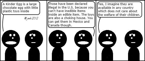 Guy: A Kinder Egg is a large chocolate egg with little plastic toys inside. 