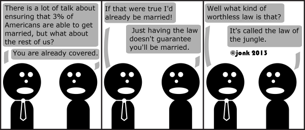 Tie: There is a lot of talk about ensuring that 3% of Americans are able to get married, but what about the rest of us?